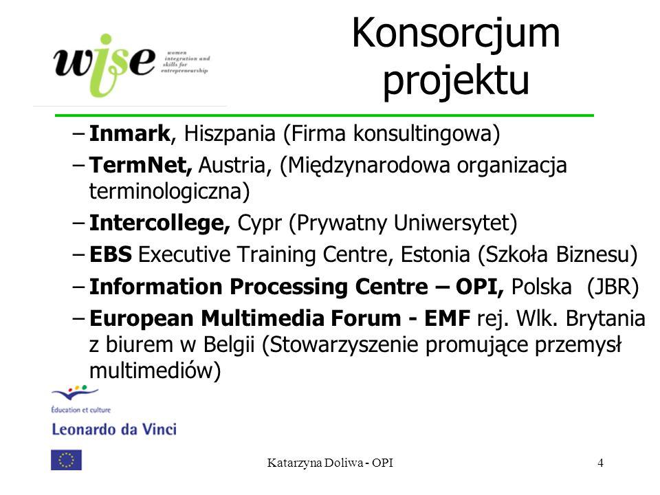 Katarzyna Doliwa - OPI4 Konsorcjum projektu –Inmark, Hiszpania (Firma konsultingowa) –TermNet, Austria, (Międzynarodowa organizacja terminologiczna) –