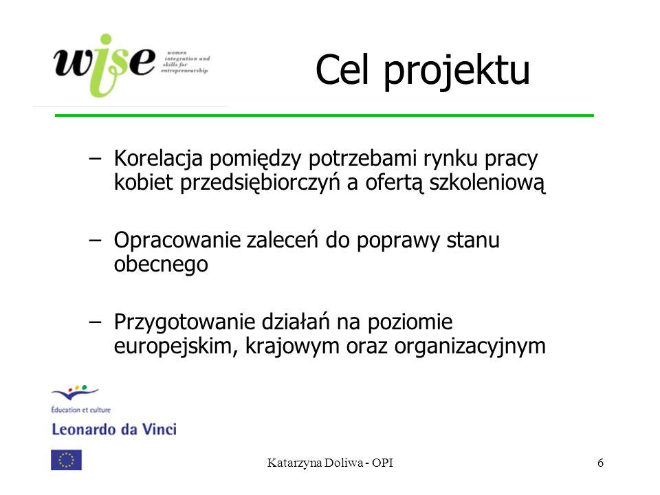 Katarzyna Doliwa - OPI6 Cel projektu –Korelacja pomiędzy potrzebami rynku pracy kobiet przedsiębiorczyń a ofertą szkoleniową –Opracowanie zaleceń do p
