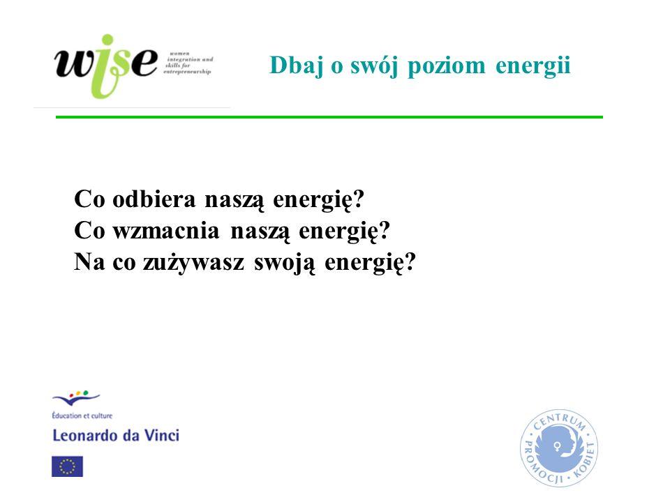 Co odbiera naszą energię? Co wzmacnia naszą energię? Na co zużywasz swoją energię? Dbaj o swój poziom energii