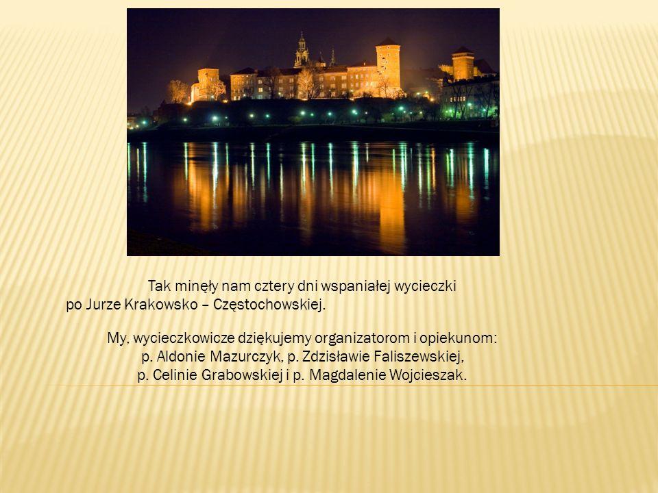 Tak minęły nam cztery dni wspaniałej wycieczki po Jurze Krakowsko – Częstochowskiej. My, wycieczkowicze dziękujemy organizatorom i opiekunom: p. Aldon