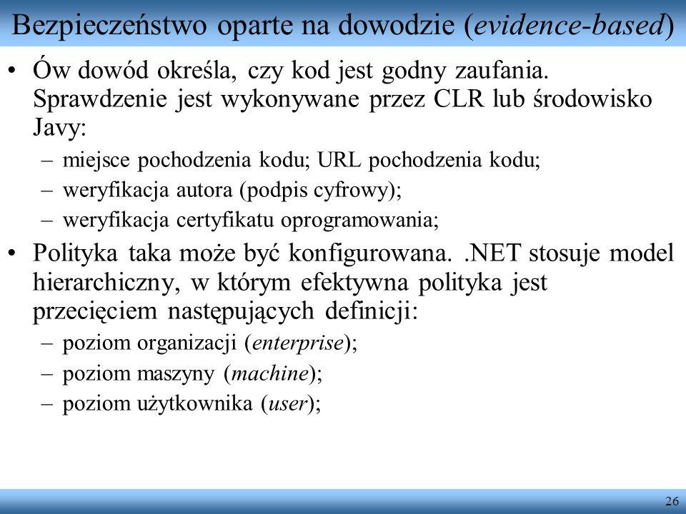 26 Bezpieczeństwo oparte na dowodzie (evidence-based) Ów dowód określa, czy kod jest godny zaufania. Sprawdzenie jest wykonywane przez CLR lub środowi