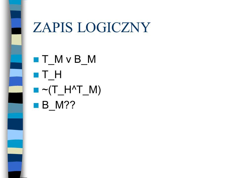 ZAPIS LOGICZNY T_M v B_M T_H ~(T_H^T_M) B_M??