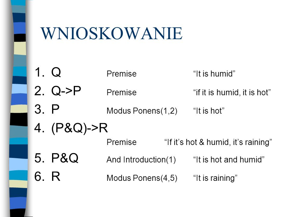 WNIOSKOWANIE 1.Q PremiseIt is humid 2.Q->P Premiseif it is humid, it is hot 3.P Modus Ponens(1,2)It is hot 4.(P&Q)->R PremiseIf its hot & humid, its r