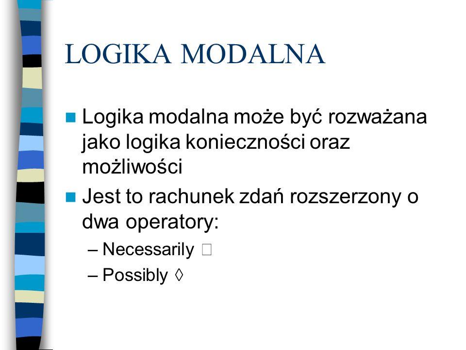 LOGIKA MODALNA Logika modalna może być rozważana jako logika konieczności oraz możliwości Jest to rachunek zdań rozszerzony o dwa operatory: –Necessar