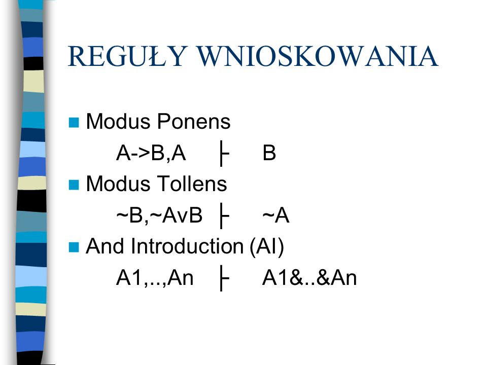REGUŁY WNIOSKOWANIA Modus Ponens A->B,AB Modus Tollens ~B,~AvB~A And Introduction (AI) A1,..,AnA1&..&An