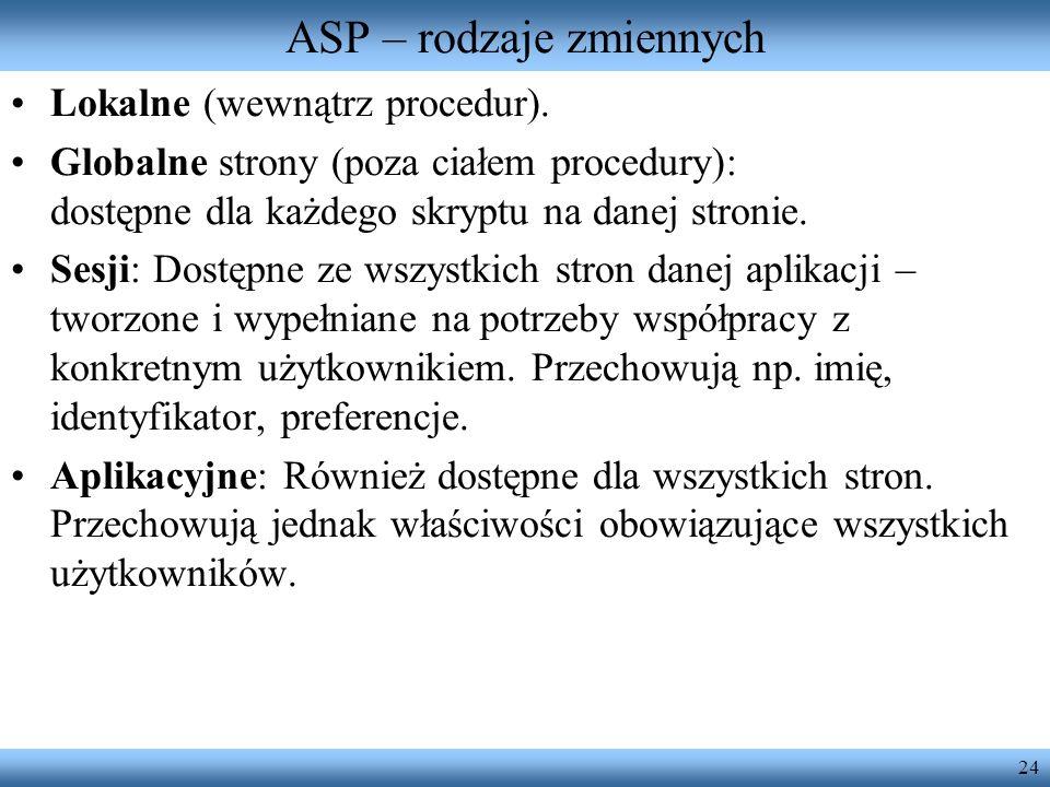 24 ASP – rodzaje zmiennych Lokalne (wewnątrz procedur). Globalne strony (poza ciałem procedury): dostępne dla każdego skryptu na danej stronie. Sesji: