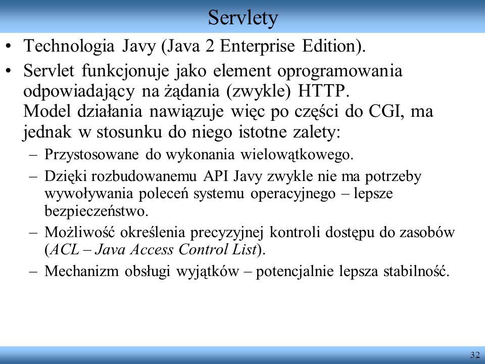 32 Servlety Technologia Javy (Java 2 Enterprise Edition). Servlet funkcjonuje jako element oprogramowania odpowiadający na żądania (zwykle) HTTP. Mode