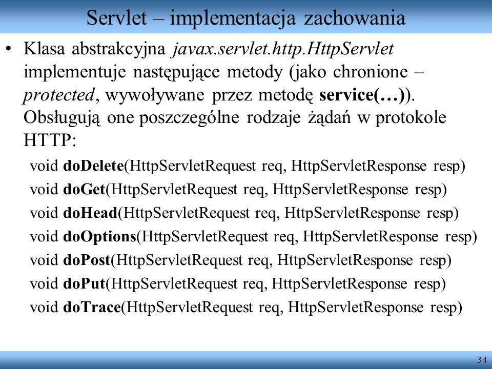 34 Servlet – implementacja zachowania Klasa abstrakcyjna javax.servlet.http.HttpServlet implementuje następujące metody (jako chronione – protected, w