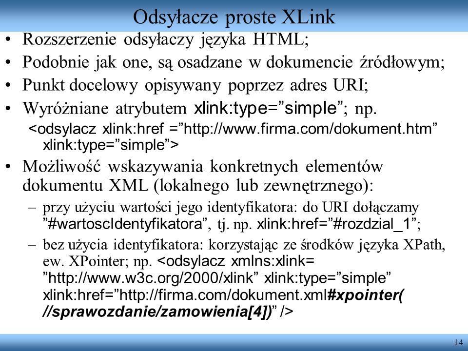 14 Odsyłacze proste XLink Rozszerzenie odsyłaczy języka HTML; Podobnie jak one, są osadzane w dokumencie źródłowym; Punkt docelowy opisywany poprzez a