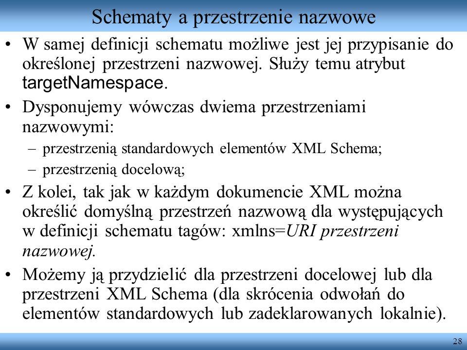 28 Schematy a przestrzenie nazwowe W samej definicji schematu możliwe jest jej przypisanie do określonej przestrzeni nazwowej. Służy temu atrybut targ