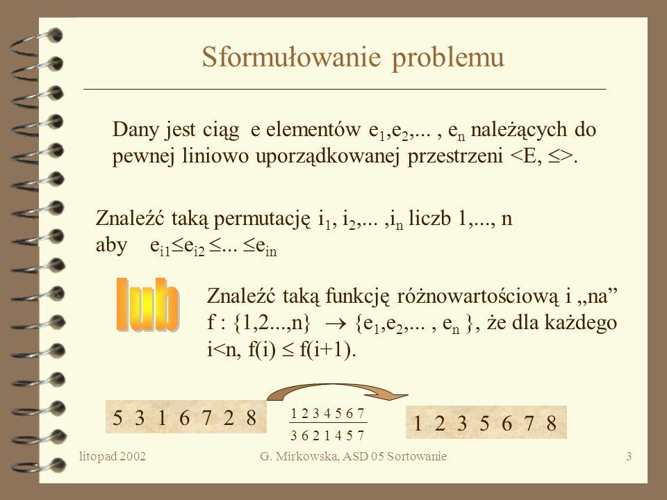 litopad 2002G. Mirkowska, ASD 05 Sortowanie2 Plan wykładu 4 Sformułowanie problemu 4 Sortowanie przez porównywanie elementów –Sortowanie przez wstawia