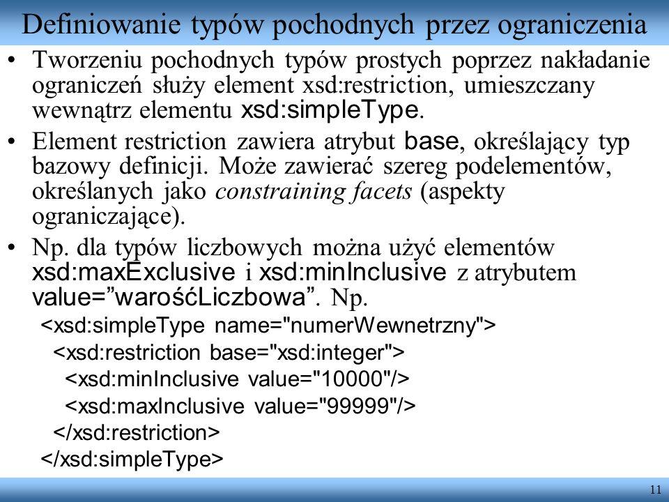 11 Definiowanie typów pochodnych przez ograniczenia Tworzeniu pochodnych typów prostych poprzez nakładanie ograniczeń służy element xsd:restriction, umieszczany wewnątrz elementu xsd:simpleType.