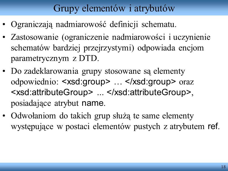 18 Grupy elementów i atrybutów Ograniczają nadmiarowość definicji schematu.
