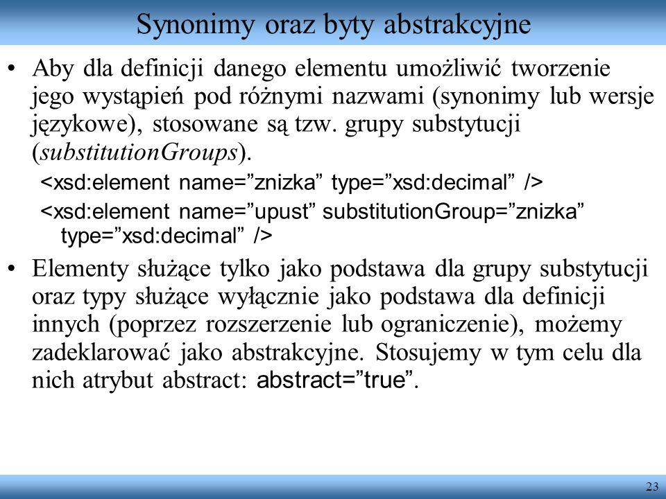 23 Synonimy oraz byty abstrakcyjne Aby dla definicji danego elementu umożliwić tworzenie jego wystąpień pod różnymi nazwami (synonimy lub wersje językowe), stosowane są tzw.