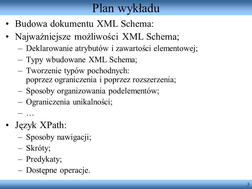 3 Plan wykładu Budowa dokumentu XML Schema: Najważniejsze możliwości XML Schema; –Deklarowanie atrybutów i zawartości elementowej; –Typy wbudowane XML Schema; –Tworzenie typów pochodnych: poprzez ograniczenia i poprzez rozszerzenia; –Sposoby organizowania podelementów; –Ograniczenia unikalności; –… Język XPath: –Sposoby nawigacji; –Skróty; –Predykaty; –Dostępne operacje.