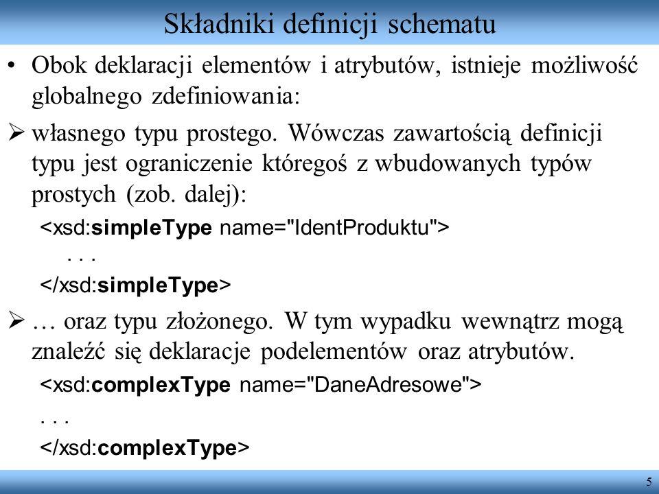 5 Składniki definicji schematu Obok deklaracji elementów i atrybutów, istnieje możliwość globalnego zdefiniowania: własnego typu prostego.