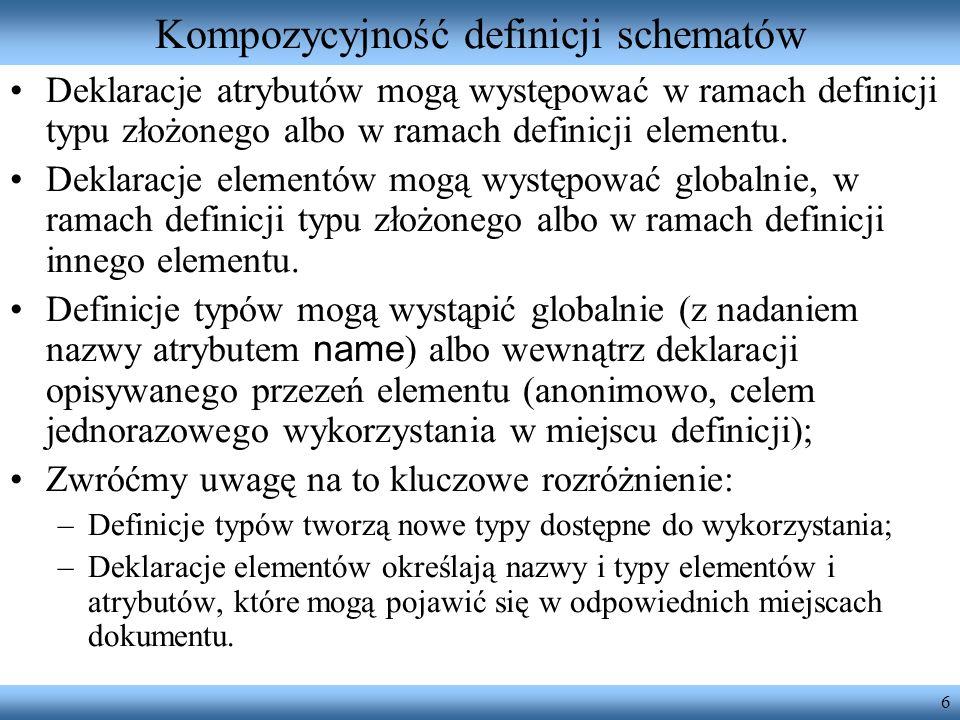 6 Kompozycyjność definicji schematów Deklaracje atrybutów mogą występować w ramach definicji typu złożonego albo w ramach definicji elementu.