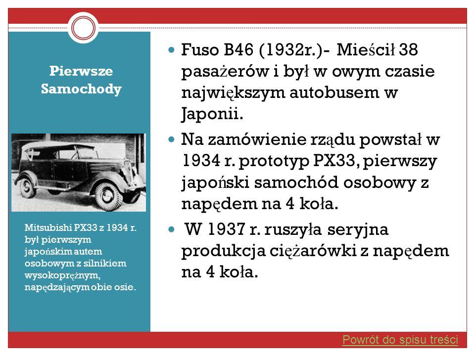 Pierwsze Samochody Mitsubishi PX33 z 1934 r. by ł pierwszym japo ń skim autem osobowym z silnikiem wysokopr ęż nym, nap ę dzaj ą cym obie osie. Fuso B