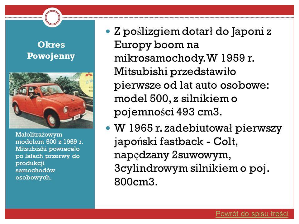 Okres Powojenny Ma ł olitra ż owym modelem 500 z 1959 r. Mitsubishi powraca ł o po latach przerwy do produkcji samochodów osobowych. Z po ś lizgiem do