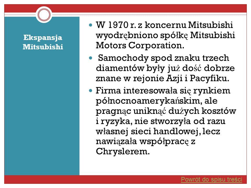 Ekspansja Mitsubishi W 1970 r. z koncernu Mitsubishi wyodr ę bniono spó ł k ę Mitsubishi Motors Corporation. Samochody spod znaku trzech diamentów by