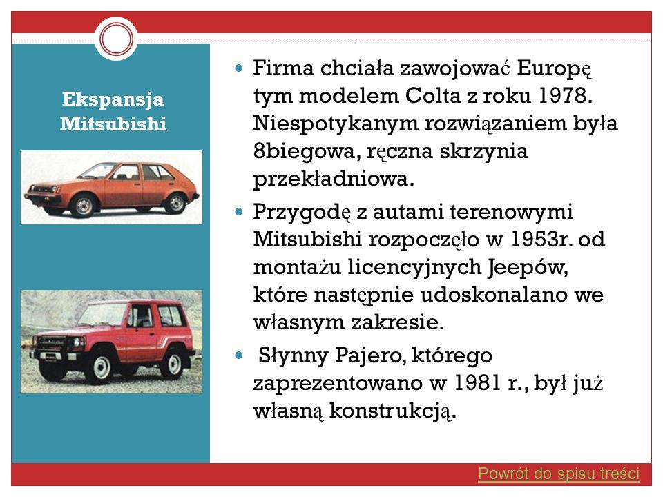 Firma chcia ł a zawojowa ć Europ ę tym modelem Colta z roku 1978. Niespotykanym rozwi ą zaniem by ł a 8biegowa, r ę czna skrzynia przek ł adniowa. Prz