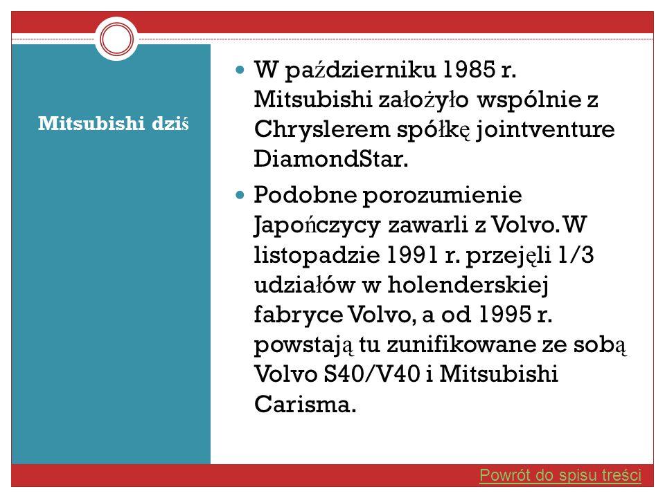 Mitsubishi dzi ś W pa ź dzierniku 1985 r. Mitsubishi za ł o ż y ł o wspólnie z Chryslerem spó ł k ę jointventure DiamondStar. Podobne porozumienie Jap