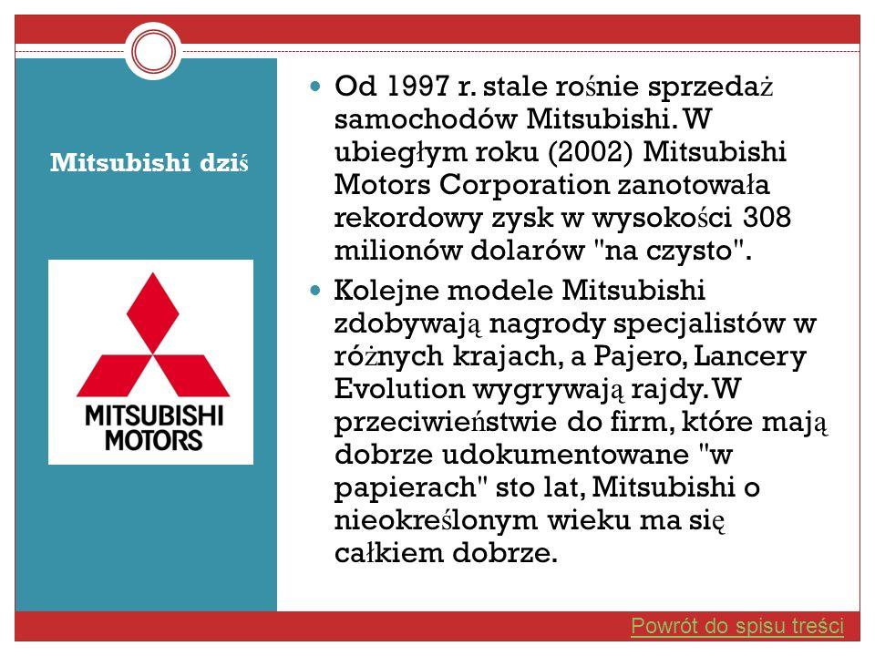 Mitsubishi dzi ś Od 1997 r. stale ro ś nie sprzeda ż samochodów Mitsubishi. W ubieg ł ym roku (2002) Mitsubishi Motors Corporation zanotowa ł a rekord