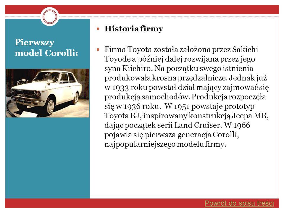 Pierwszy model Corolli: Historia firmy Firma Toyota została założona przez Sakichi Toyodę a później dalej rozwijana przez jego syna Kiichiro. Na począ
