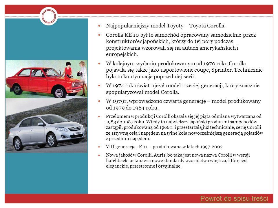 Najpopularniejszy model Toyoty – Toyota Corolla. Corolla KE 10 był to samochód opracowany samodzielnie przez konstruktorów japońskich, którzy do tej p