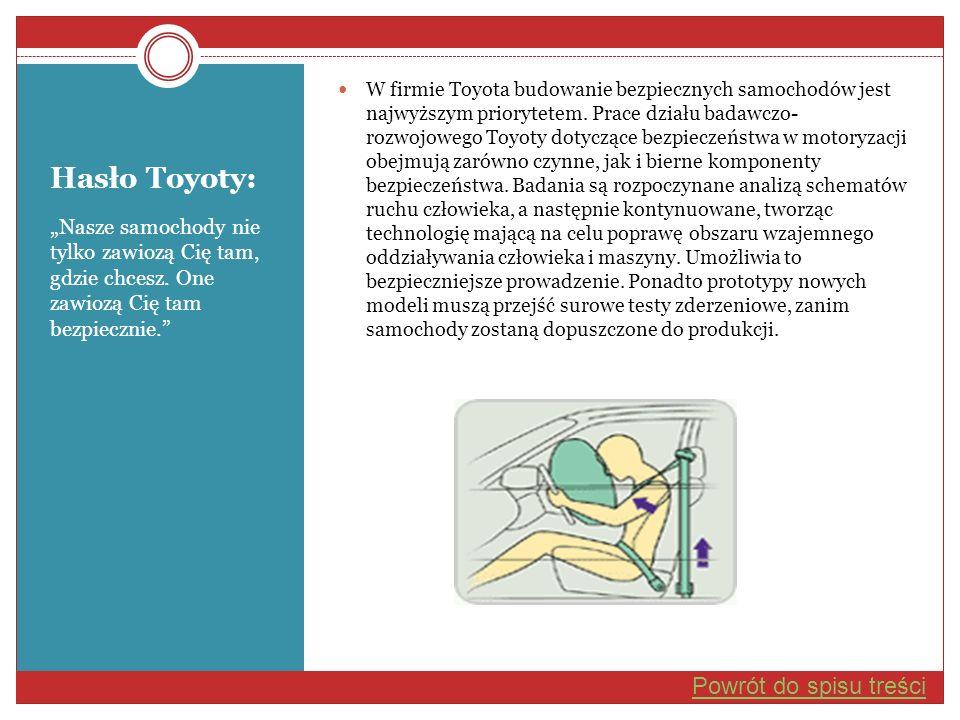 Hasło Toyoty: Nasze samochody nie tylko zawiozą Cię tam, gdzie chcesz. One zawiozą Cię tam bezpiecznie. W firmie Toyota budowanie bezpiecznych samocho