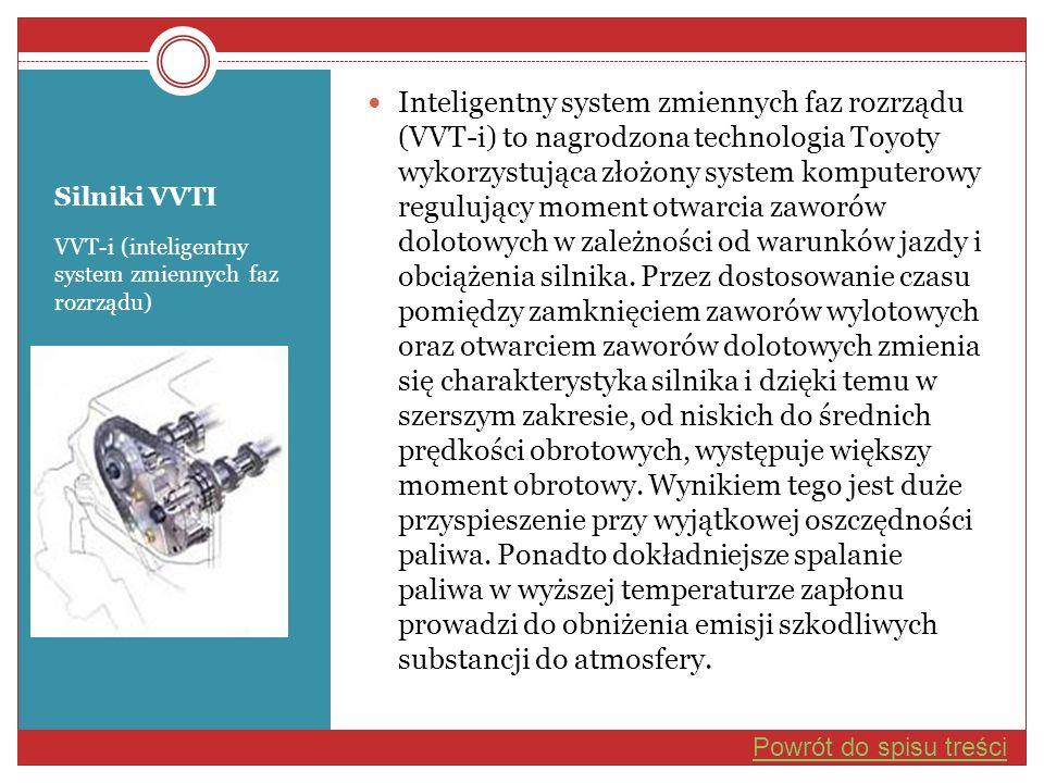 Silniki VVTI VVT-i (inteligentny system zmiennych faz rozrządu) Inteligentny system zmiennych faz rozrządu (VVT-i) to nagrodzona technologia Toyoty wy
