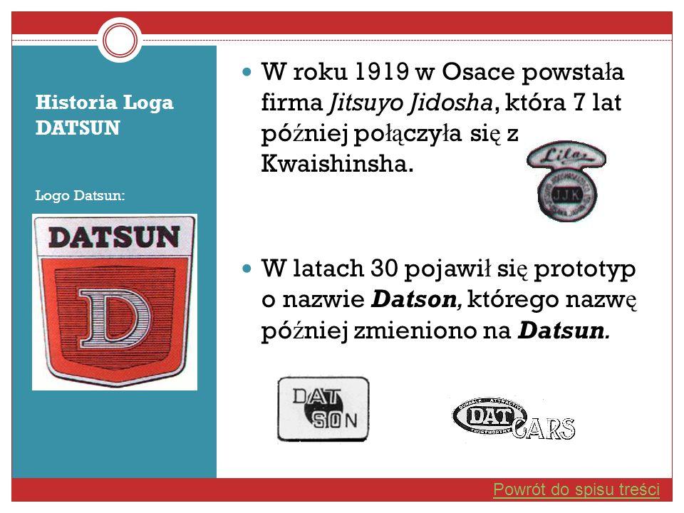 Historia Loga DATSUN Logo Datsun: W roku 1919 w Osace powsta ł a firma Jitsuyo Jidosha, która 7 lat pó ź niej po łą czy ł a si ę z Kwaishinsha. W lata