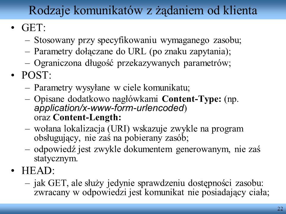 22 Rodzaje komunikatów z żądaniem od klienta GET: –Stosowany przy specyfikowaniu wymaganego zasobu; –Parametry dołączane do URL (po znaku zapytania);