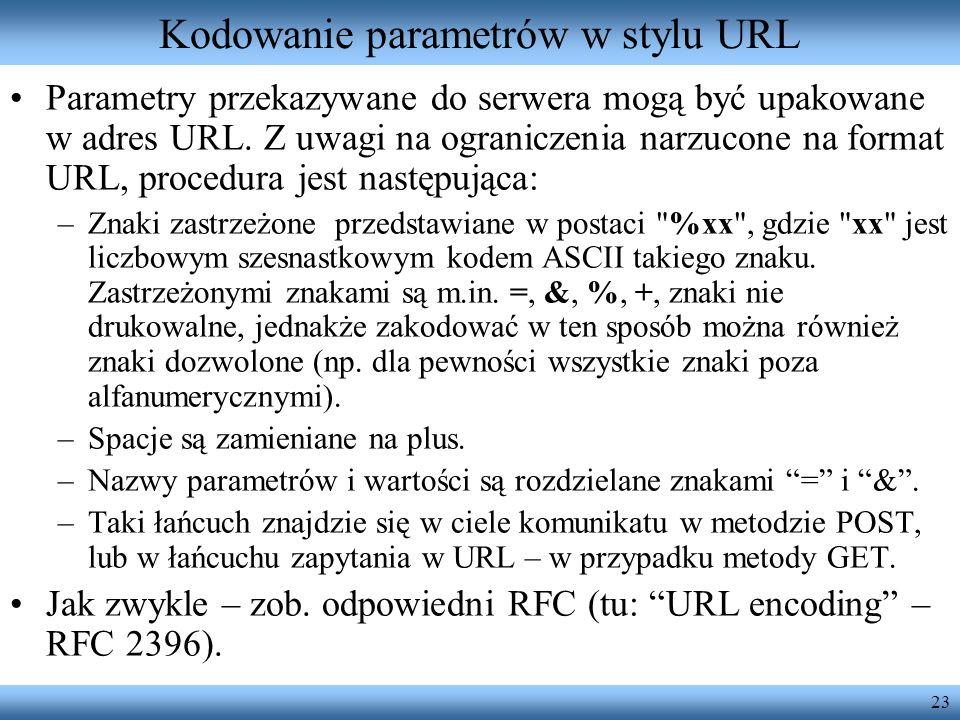 23 Kodowanie parametrów w stylu URL Parametry przekazywane do serwera mogą być upakowane w adres URL. Z uwagi na ograniczenia narzucone na format URL,