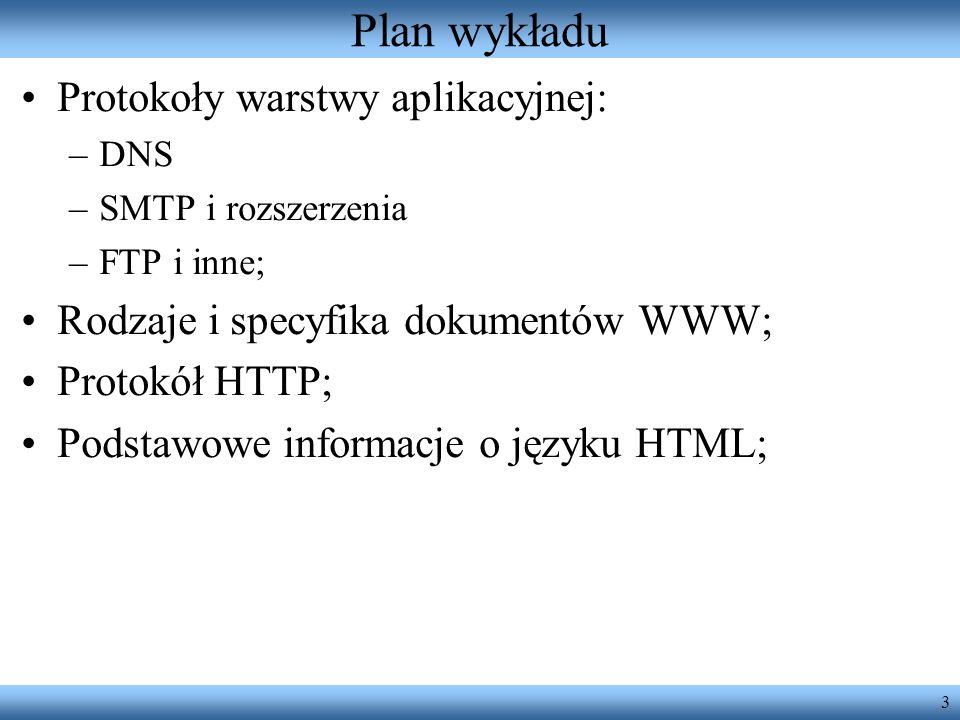 3 Plan wykładu Protokoły warstwy aplikacyjnej: –DNS –SMTP i rozszerzenia –FTP i inne; Rodzaje i specyfika dokumentów WWW; Protokół HTTP; Podstawowe in