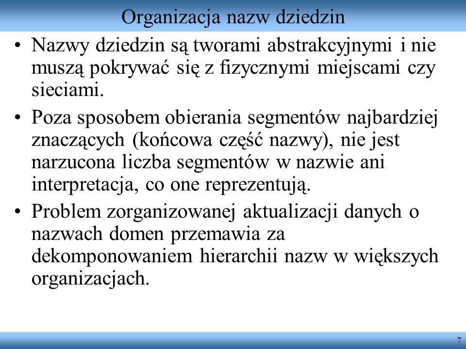 7 Organizacja nazw dziedzin Nazwy dziedzin są tworami abstrakcyjnymi i nie muszą pokrywać się z fizycznymi miejscami czy sieciami. Poza sposobem obier