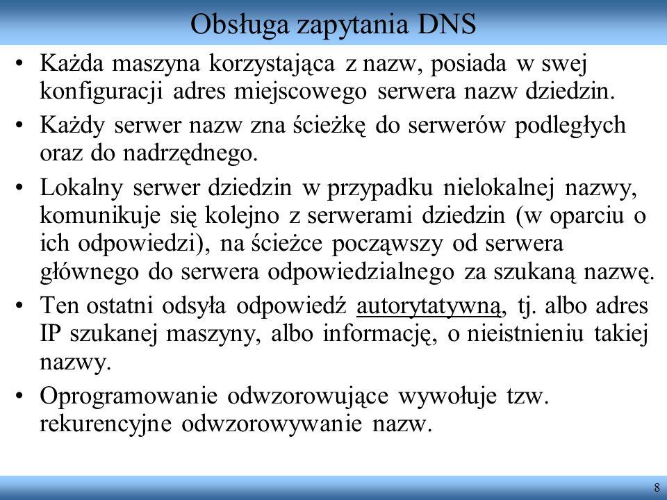 19 Komunikaty HTTP (2) Wiersz początkowy odpowiedzi: –wersja protokołu; –kod rezultatu (liczba); –opis w języku naturalnym (reason phrase); –np.