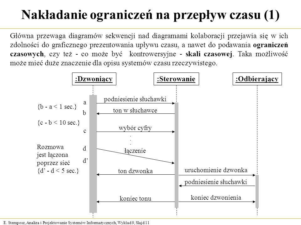 E. Stemposz, Analiza i Projektowanie Systemów Informatycznych, Wykład 9, Slajd 11 Nakładanie ograniczeń na przepływ czasu (1) :Sterowanie:Dzwoniący:Od