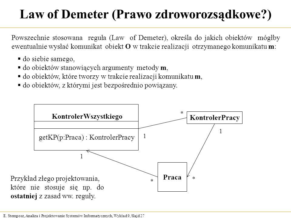 E. Stemposz, Analiza i Projektowanie Systemów Informatycznych, Wykład 9, Slajd 27 Law of Demeter (Prawo zdroworozsądkowe?) Powszechnie stosowana reguł