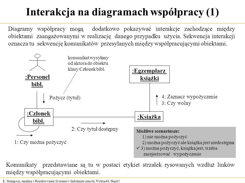 E. Stemposz, Analiza i Projektowanie Systemów Informatycznych, Wykład 9, Slajd 5 Interakcja na diagramach współpracy (1) Komunikaty przedstawiane są t
