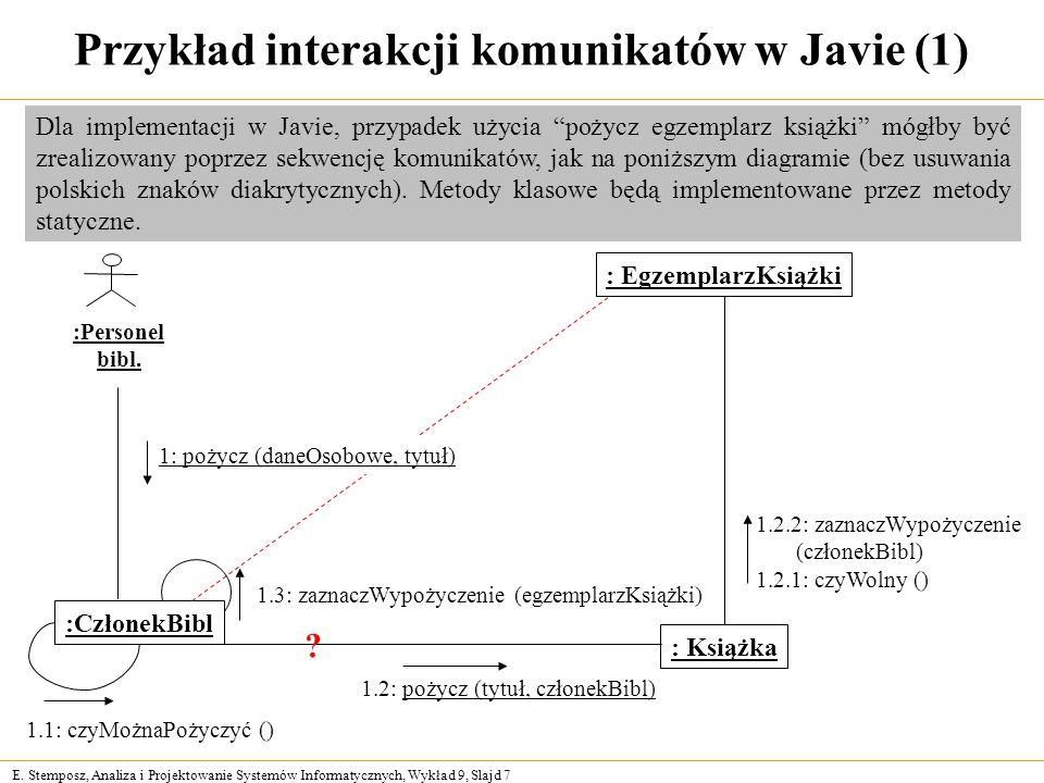 E. Stemposz, Analiza i Projektowanie Systemów Informatycznych, Wykład 9, Slajd 7 Przykład interakcji komunikatów w Javie (1) :Personel bibl. : Książka