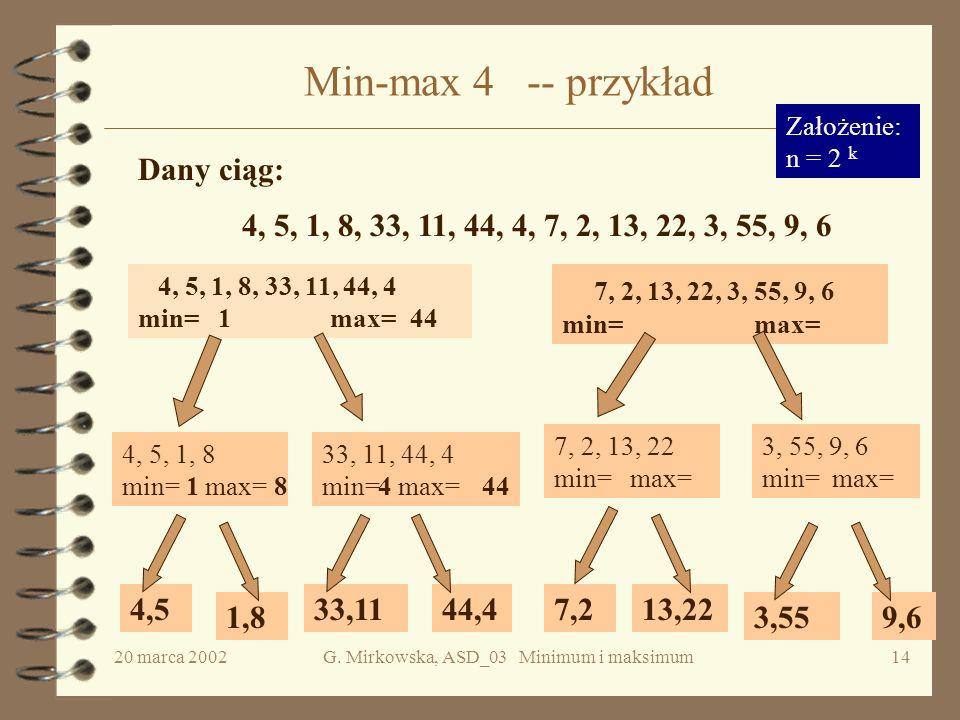 20 marca 2002G. Mirkowska, ASD_03 Minimum i maksimum13 Analiza poprawności c.d. min := m[1]; max :=w[1]; for i := 2 to k-1 do if e[m[i]] e[max] then m