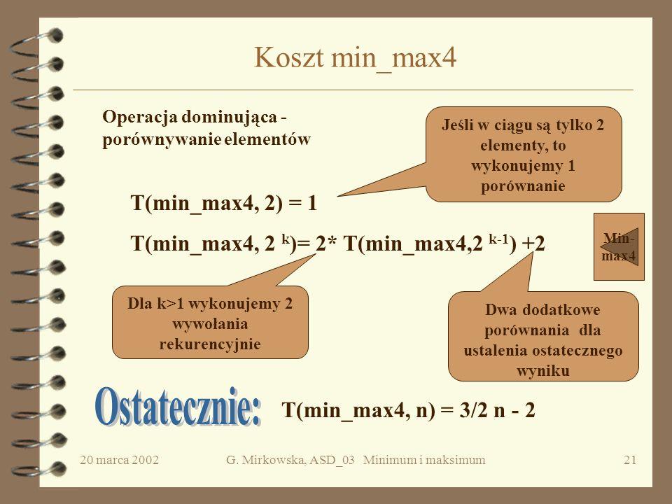 20 marca 2002G. Mirkowska, ASD_03 Minimum i maksimum20 Poprawność min-max4 Dowód przez indukcję ze względu na liczbę wywołań rekurencyjnych funkcji mi