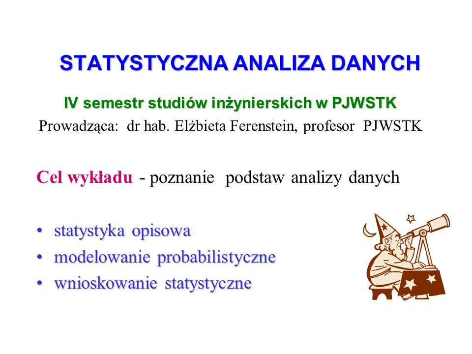 STATYSTYCZNA ANALIZA DANYCH IV semestr studiów inżynierskich w PJWSTK Prowadząca: dr hab.