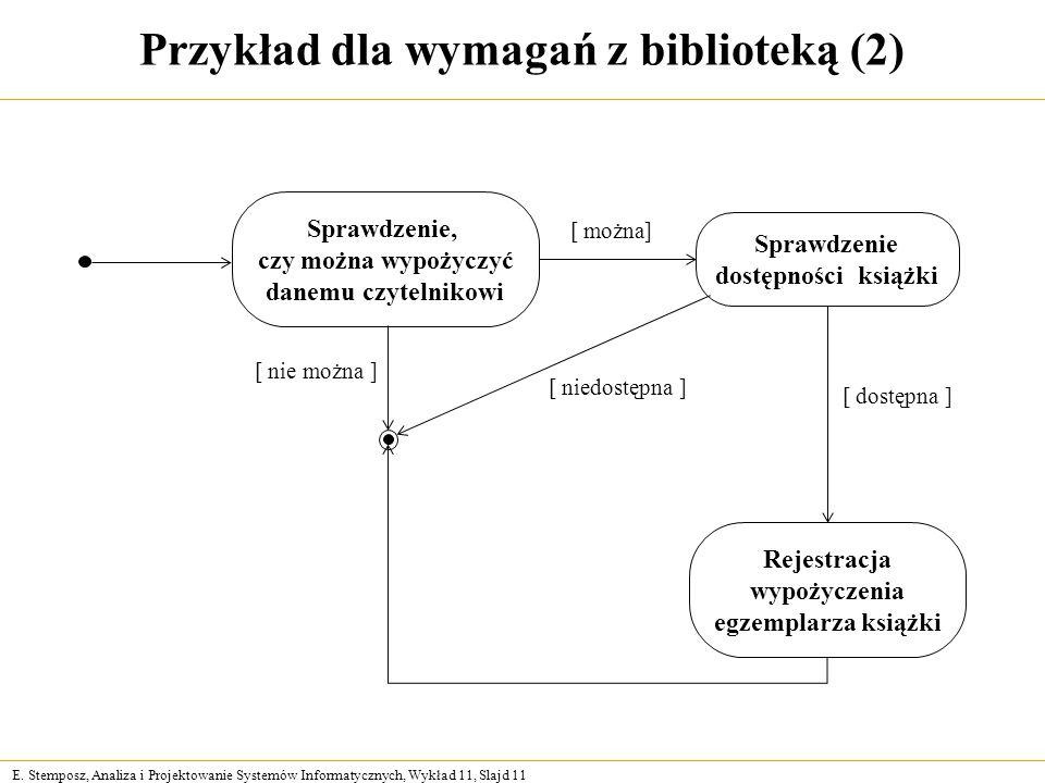 E. Stemposz, Analiza i Projektowanie Systemów Informatycznych, Wykład 11, Slajd 11 Przykład dla wymagań z biblioteką (2) Sprawdzenie, czy można wypoży