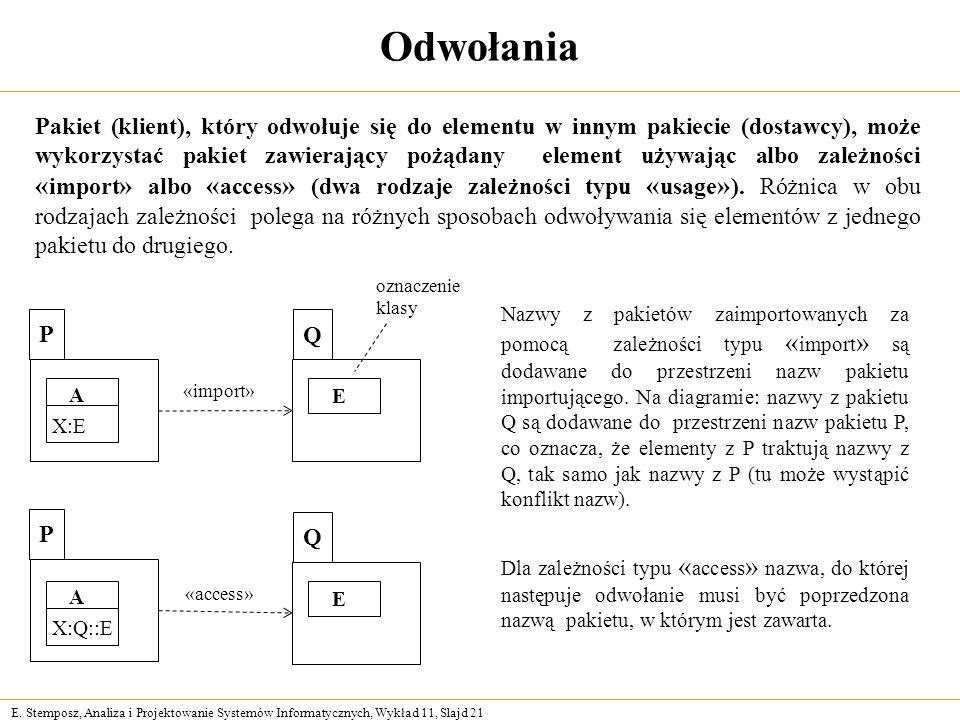 E. Stemposz, Analiza i Projektowanie Systemów Informatycznych, Wykład 11, Slajd 21 Odwołania Pakiet (klient), który odwołuje się do elementu w innym p