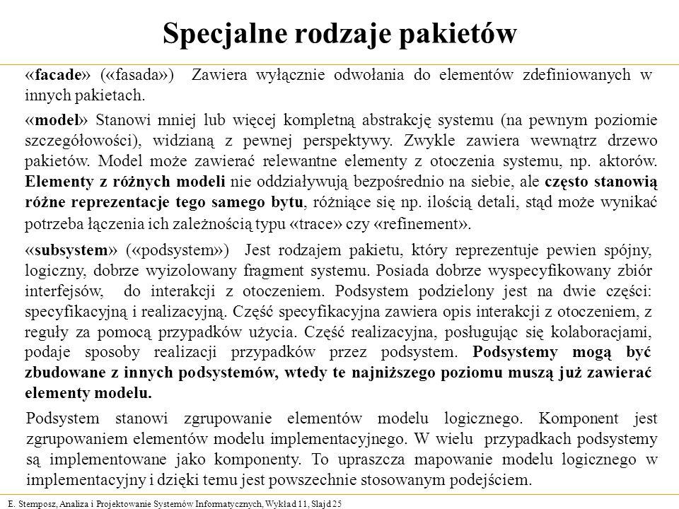 E. Stemposz, Analiza i Projektowanie Systemów Informatycznych, Wykład 11, Slajd 25 Specjalne rodzaje pakietów « facade » ( « fasada » ) Zawiera wyłącz