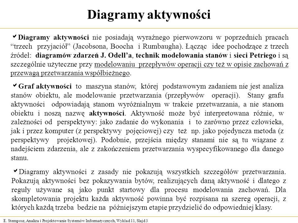 E. Stemposz, Analiza i Projektowanie Systemów Informatycznych, Wykład 11, Slajd 3 Diagramy aktywności Diagramy aktywności nie posiadają wyraźnego pier