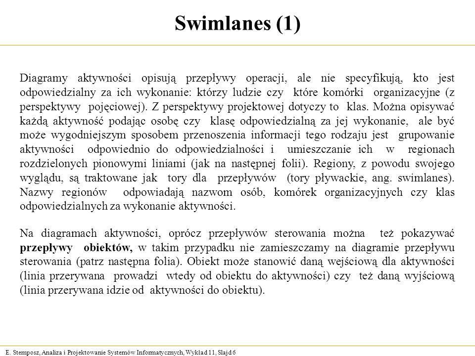 E. Stemposz, Analiza i Projektowanie Systemów Informatycznych, Wykład 11, Slajd 6 Swimlanes (1) Diagramy aktywności opisują przepływy operacji, ale ni