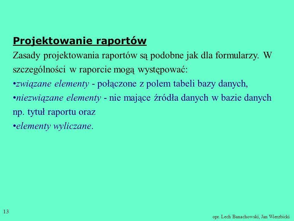 opr. Lech Banachowski, Jan Wierzbicki 12 Kreatory raportów : autoraport (bez wyboru pól), jednokolumnowy (AutoReport: Columnar) - rekord po rekordzie